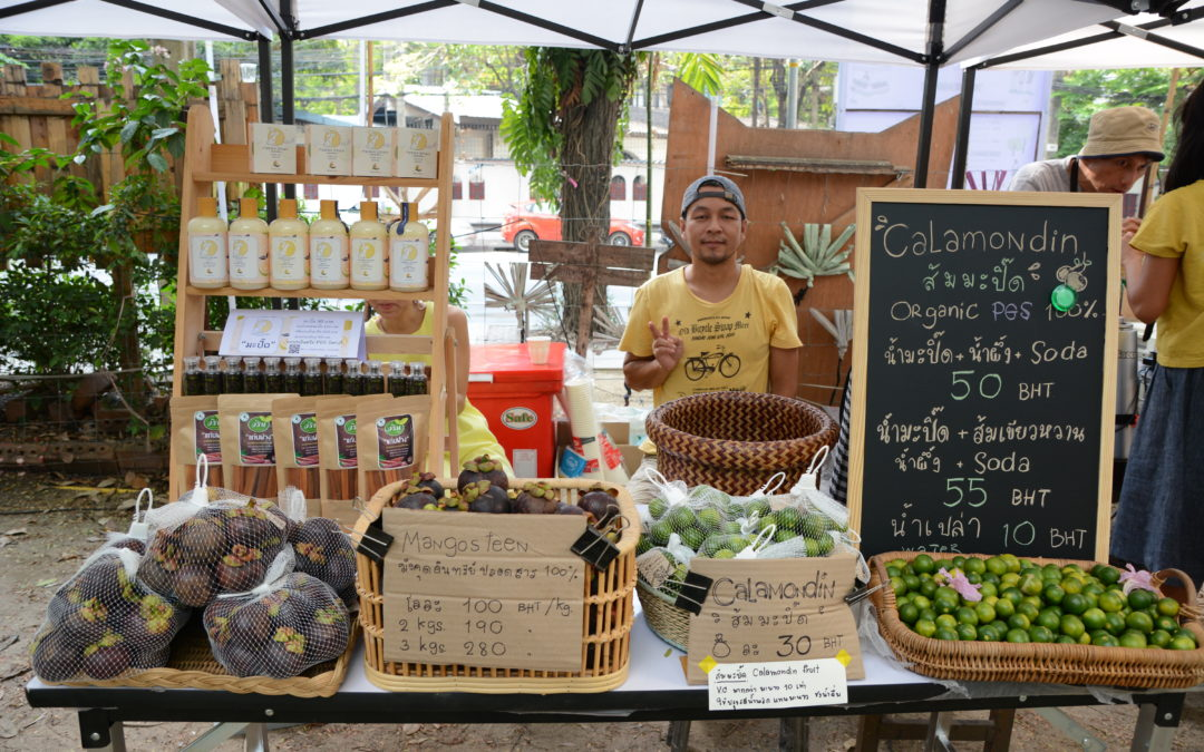 Local organic farmers' market in Bangkok